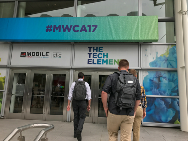 Attendees enter the MWC Americas event at the Moscone Center.